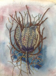 Love in a mist seed pod: in paint and stitch.Debbie Irving