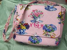 Pink Tea Cup Fabric Messenger Purse with Monogram