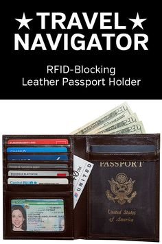 Leather Passport Holder from Travel Navigator Accessories - RFID Blocking To Prevent Identity Theft