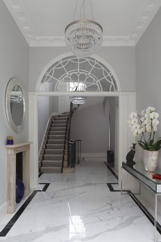 Complete restoration and modernisation of Georgian Townhouse in Marylebone. Townhouse Interior, Georgian Townhouse, Interior Staircase, Georgian Homes, London Townhouse, Entrance Hall Decor, House Entrance, Entryway Decor, Entryway Lighting