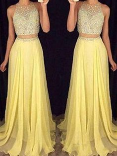 Buy Chicloth A-Line Chiffon Scoop Sleeveless Floor-Length With Beading Two Piece Dresses, Prom Dresses Cheap,Homecoming Dresses Cheap Online. Discount Prom Dresses, Unique Prom Dresses, Beautiful Prom Dresses, Popular Dresses, Cheap Semi Formal Dresses, Inexpensive Prom Dresses, Cheap Dresses, Cheap Clothes, Ladies Clothes