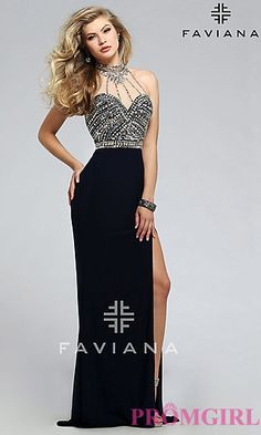 450 Long High Neck Faviana Prom Dress with Beaded Top at PromGirl.com