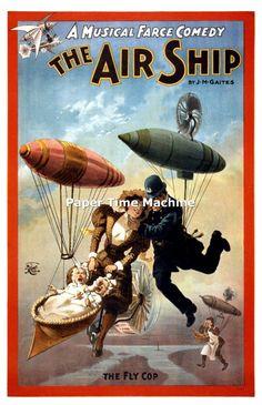 Vaudeville Theater Vintage Art Print - Digitally Remastered Fine Art Print/Poster - The Air Ship Musical Farce Comedy