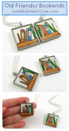 Friendship Necklaces, Custom Personalized Book Pendants. Can include up to 5 titles of your choosing on each pendant