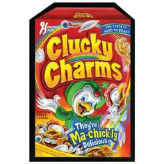 Clucky Charms: Topps Wacky Packages Wall from WALLS 360. http://www.walls360.com/wackypackages Graphics