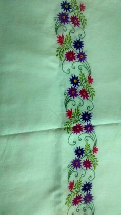 Embroidery On Kurtis, Kurti Embroidery Design, Border Embroidery, Hand Embroidery Flowers, Hand Work Embroidery, Hand Embroidery Stitches, Hand Embroidery Designs, Floral Embroidery, Floral Bedspread