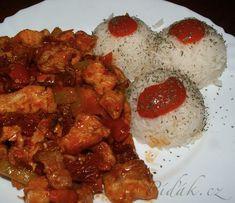 POTŘEBNÉ PŘÍSADY  vepřová kotleta solamyl olivový olej červená paprika koření cibule zelená paprika chilli omáčka jasmínová rýže sůl  POSTUP PŘÍPRAVY  Vepřovou kotletu nakrájíme na nudličky a obalíme v solamylu. Ricotta, Chicken, Meat, Ethnic Recipes, Red Peppers, Kai