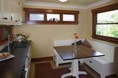 craftsman kitchen with a reading nook | Kitchen- Arts and Crafts Breakfast Nook