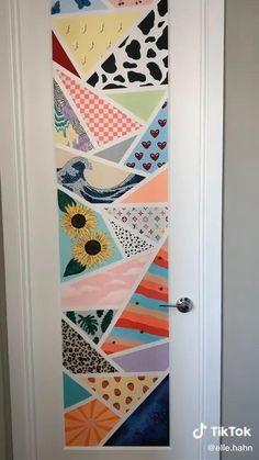 Indie Room Decor, Cute Room Decor, Aesthetic Room Decor, Painted Bedroom Doors, Painted Doors, Room Design Bedroom, Diy Bedroom Decor, Cd Wall Art, Cd Art