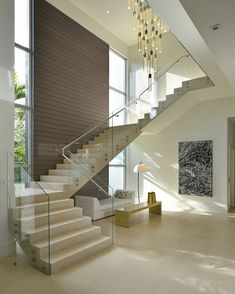 Modern Staircase Design Ideas - Modern stairs come in lots of styles and designs that can be actual eye-catcher in the different area. We have actually put together finest 10 modern models of staircases that can give. Staircase Design Modern, Home Stairs Design, Interior Stairs, Modern House Design, Home Interior Design, Stair Design, Glass Stairs Design, House Staircase, Staircase Ideas