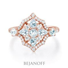 Rose Cut Diamond Ring in Rose Gold by Bejanoff