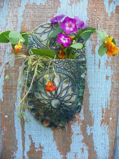 Ceramic Wall Pocket with Floral Design by Lizardleigh on Etsy, $32.00