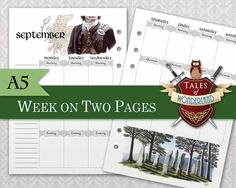 Outlander inspired Week on 2 pages planner for A5 Filofax/organizer by Tales of Wonderland Scotland / Highlands
