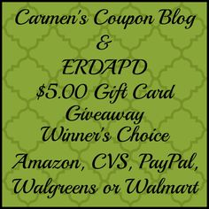 Enter to win a $5 Gift Card of Winner's Choice.