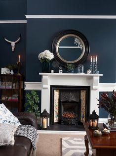Real home: a Victorian house with a traditional twist traditional living room with dark grey walls and a wooden coffee table Lounge Design, Lounge Decor, Lounge Chair, Office Lounge, Hotel Lounge, Dark Grey Walls Living Room, Blue Living Room Decor, Rugs In Living Room, Living Room Designs