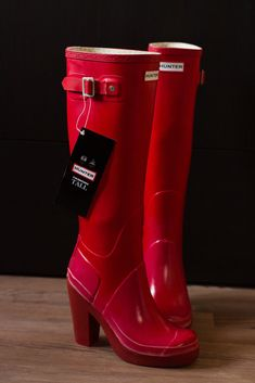 Wellies Boots, Bootie Boots, Shoe Boots, Red Hunter Boots, Red Boots, Heeled Rain Boots, Tall Leather Boots, Ugg Australia, Attitude