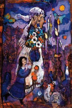 1980  Israeli  Woman with Shabbat candles oil on canvasShabbat Candles Shabbos Print Wall Art Decor Judaica by PearlBrush  . Shabbat Candle Lighting Miami. Home Design Ideas