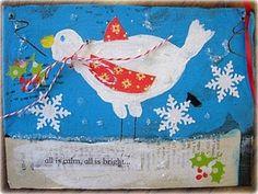 winter bird mixed media