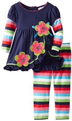 Rare Editions Little Girls Striped-Leg Toddler Set Outfits Niños, Baby Outfits, Little Girl Outfits, Little Girl Dresses, Toddler Outfits, Kids Outfits, Toddler Fashion, Girl Fashion, Kids Wear