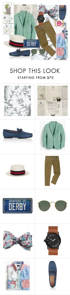 """Man Candy"" by choosycipher on Polyvore featuring Cole & Son, WALL, Tod's, J.Crew, Goorin, Replay, Ray-Ban, Thomas Pink, men's fashion and menswear"