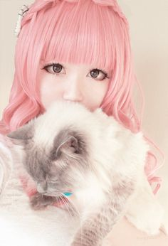hitchae: pinktokki: Cherry Wig from SoLolita Read More omfg brenda you are adorable<br> Japanese Makeup, Japanese Fashion, Japanese Girl, Korean Fashion, Mode Kawaii, Kawaii Shop, Kawaii Cosplay, Sweet Girls, Cute Girls