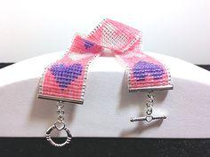 Miyuki Bead Loomed Valentine Pink Purple & by UnicornGladeDesigns