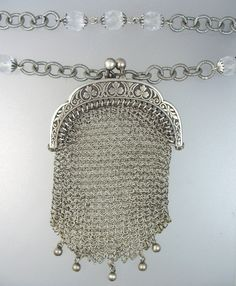 Antique French CHATELAINE STERLING Silver COIN PURSE Necklace Crystal Filigree Beads -n-ssprs