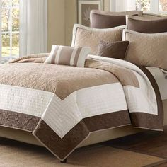 King size Brown Ivory Tan Cream 7 Piece Quilt Coverlet Bedspread Set