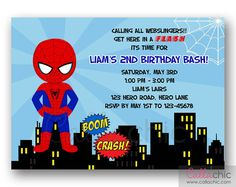 Spiderman Invitation for little superheroes boy.    You will receive a Personalized Printable Invitation in:  * JPEG (default) - for photo labs OR  *