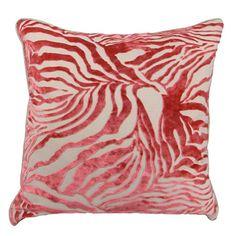 Zebra Pillow in Salmon