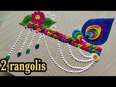 Easy Rangoli Designs Videos, Rangoli Side Designs, Simple Rangoli Border Designs, Easy Rangoli Designs Diwali, Rangoli Designs Latest, Free Hand Rangoli Design, Small Rangoli Design, Rangoli Ideas, Colorful Rangoli Designs