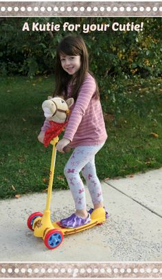 This has got to be my daughter's favorite toy - she can ride it outside and even take the horse off the scooter and ride it inside (and out) as a stick horse!   http://www.oursouthernstyle.com/2014/11/razor-jr-kutie-scooter-review-giveaway.html
