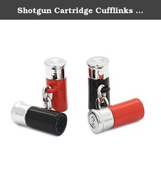 Shotgun Cartridge Cufflinks Chain Link Black Red Gun Rifle Gift + Box & Cleaner. Great gift for shotgun lovers! Each cufflink incorporates a black and red shotgun cartridges with a silver plated cap at the end. The two cartridges are joined together by a silver plated chain.