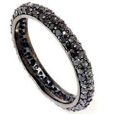 Black Diamond Pave Eternity Ring 1.10CT Womens Black Gold Anniversary Stackable Band Size (4-9)