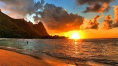 Hawaii Sunset Wallpaper Full HD - New Pictures Hawaiian Sunset, Sunset Beach, Hd Desktop, Beautiful Sunset, Beautiful Beaches, New Hd Pic, Beach Pink, Beach Background, Sunset Wallpaper