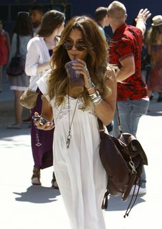 Boho chic crochet embellished maxi dress with modern hippie layered long necklaces  stacked silver bangles. For the BEST Bohemian fashion trends FOLLOW http://www.pinterest.com/happygolicky/the-best-boho-chic-fashion-bohemian-jewelry-gypsy-/ now