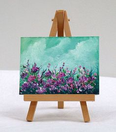 purple flowers, 3x4, original oil painting, special gift by valdasfineart on Etsy: