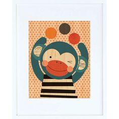 Funny Monkey Framed Print - $44.00  Printed on sustainably harvested maple veneer and framed in a modern white hardwood frame. Includes a glass front and comes ready to hang.