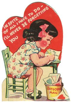 Cute vintage valentine...writing note