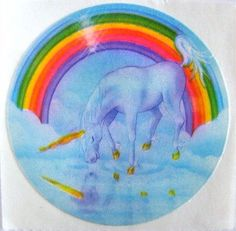 Rare Vintage Lisa Frank Rainbow Unicorn Reflection Sticker - 80's Fantasy
