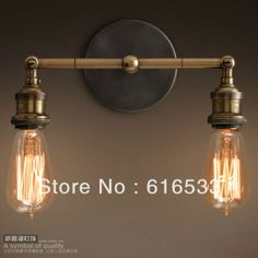 Vintage double copper wall lamp double shadeless wall sconce bare bulb wall mounted ofhead lamps two-burner lamp (Mainland)) Copper Lamps, Copper Wall, Brass Metal, Vintage Wall Lights, Vintage Lighting, Industrial Lighting, Edison Lighting, Rustic Lighting, Rustic Wall Sconces