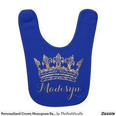 Personalized Crown Monogram Baby Bib