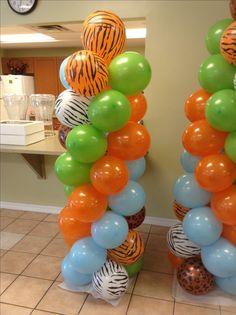 Balloon column, baby shower, Flinstones Bam Bam themed shellysdecor4you@gmail.com #Birthdays #BabyShowers #Graduations etc...