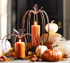 All aglow for a happy Halloween! Wire Pumpkins with candles for cute fall decor Pumpkin Candles, Pumpkin Centerpieces, Christmas Centerpieces, Thanksgiving Decorations, Fall Decorations, September Decorations, Pumpkin Lights, Christmas Tables, Fall Candles
