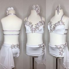 Stand out on stage in this truly sparkling white 2 piece dance costume! AXS