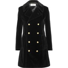 Saint Laurent Double-breasted cotton-velvet peacoat (6.425 BRL) ❤ liked on Polyvore featuring outerwear, coats, jackets, coats & jackets, jaquetas, black, military peacoat, pea coat, military style pea coat and military-style coats
