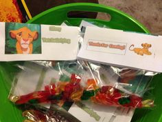 Lion king party favor . Slimy yet satisfying. Gummy worms. Thanks for coming on the back