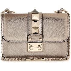 Valentino Lock Mini Metallic Leather Shoulder Bag (2,755 BAM) ❤ liked on Polyvore featuring bags, handbags, shoulder bags, gold, brown leather handbag, mini purse, mini handbags, brown shoulder bag and brown purse