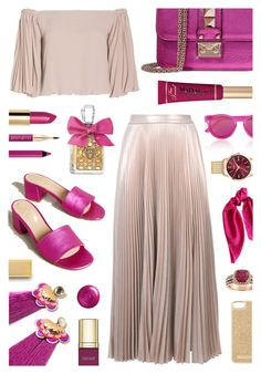 """Pleats: Champagne and Raspberries"" by the-amj ❤ liked on Polyvore featuring A.L.C., Razan Alazzouni, Valentino, KMB, Gucci, Too Faced Cosmetics, Dolce&Gabbana, Juicy Couture, Lancôme and Le Specs"