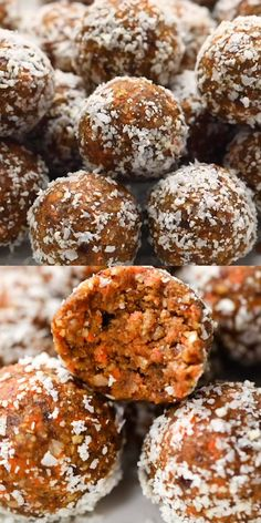 These healthy Carrot Cake Energy Bites remind you of an indulgent slice of cake but are actually good for you They re vegan no-bake and seriously delicious Raw vegan and gluten-free energybite carrotcake healthysnack # Healthy Carrot Cakes, Healthy Sweets, Healthy Baking, Easy Healthy Recipes, Raw Food Recipes, Healthy Snacks, Snack Recipes, Healthy Drinks, Health Sweet Snacks